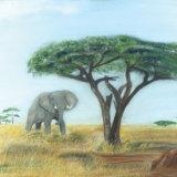 Elephant & Termite hill (African savannah)