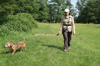 Walking Megan on the Usk Valley Walk