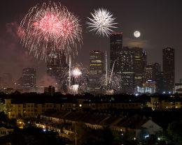 Fireworks over Houston, Texas
