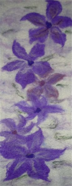 Clematis wall hanging 64cms x 27cms £60  SOLD