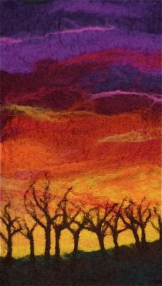 Treeline at Sunset 44cms x 31cms inc frame SOLD