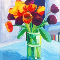 Tulips Blue Table 30 x 23.65cm, Giclee Print £70