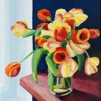 Tulips blue wall   30 x 23.59cm, Giclee Print £70