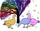 Rainbow Tree And Three Geese