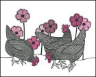 Three Hens And Flowers