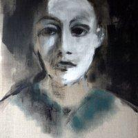 portrait 245, 50x40x1.6cm, acrylic on linen, 2014,framed, limed waxed wood box