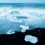 Ice shrapnel  on Jokulsa beach, Iceland