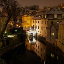 Watermill on a cold winter night