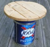 Recycled beer keg and driftwood table
