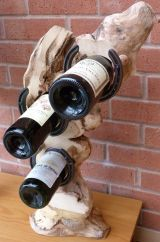 Upcycled elm, table top (3 bottle) wine rack.