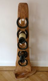 Floor standing Elm & Oak 5 bottle wine rack