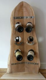 Upcycled Elm & Stainless Steel 6 bottle wine rack.