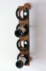 Upcycled teak 4 bottle wine rack.
