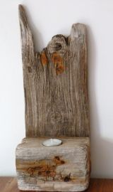 Upcycled driftwood candle holder